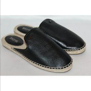 New! Michael Kors soft black leather mules slides
